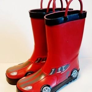 NWT Red Race Car Rain Boots